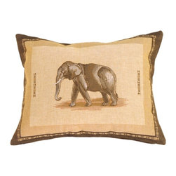 Pillow Decor Ltd. - Elephant French Tapestry Throw Pillow - Can you hear the trumpets roaring? A single majestic elephant adorns this exotic French tapestry pillow in beautiful desert-inspired earth tones. Surrounded by an African motif border, its classic safari look pairs beautifully with your animal prints, tropical plants and antique leather pieces.