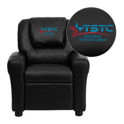 """Flash Furniture - Texas State Technical College Black Leather Kids Recliner with Cup Holder and He - Get young kids in the college spirit with this embroidered college recliner. Kids will now be able to enjoy the comfort that adults experience with a comfortable recliner that was made just for them! This chair features a strong wood frame with soft foam and then enveloped in durable leather upholstery for your active child. This petite sized recliner is highlighted with a cup holder in the arm to rest their drink during their favorite show or while reading a book. Texas State Technical College Embroidered Kids Recliner; Embroidered Applique on Oversized Headrest; Overstuffed Padding for Comfort; Easy to Clean Upholstery with Damp Cloth; Cup Holder in armrest; Solid Hardwood Frame; Raised Black Plastic Feet; Intended use for Children Ages 3-9; 90 lb. Weight Limit; CA117 Fire Retardant Foam; Black LeatherSoft Upholstery; LeatherSoft is leather and polyurethane for added Softness and Durability; Safety Feature: Will not recline unless child is in seated position and pulls ottoman 1"""" out and then reclines; Safety Feature: Will not recline unless child is in seated position and pulls ottoman 1"""" out and then reclines; Overall dimensions: 24""""W x 21.5"""" - 36.5""""D x 27""""H"""