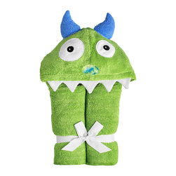 Yikes Twins - Monster Hooded Towel, Green - Our best seller!  (We're not sure if it's because kids love the silly face or because parents feel that it's the towel that best captures the spirit of their children.)