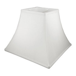American Heritage Shades - Square Bell Lampshade in White (6 in. Diam x 5 in. H) - Choose Size: 6 in. Diam x 5 in. HLampshade Types. Shantung faux silk with off-white fabric liner. Hand made. Matching top, bottom and vertical trim. Enhances lamp and room decor. Made from polyester and fabric. Fitter in brass color. Made in USA. No assembly required