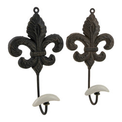 Zeckos - Cast Iron Fleur De Lis Decorative Wall Hook Set of 2 - This set of 2 complementing wall hooks are formed in the shape of a classic Fleur De Lis symbol, and made from cast iron with a lovely weathered finish. Each 9.5 inch (24 cm) high, 5 inch (13 cm) wide, 2.25 inch (6 cm) deep decorative hook has an attached hanger at the top, and the hooks are topped with resin pieces, and are excellent for hanging jackets, hats and scarves in an entryway, robes and towels in a bathroom, or bathing suits and clothes in the cabana by the pool. They are an elegant accent perfect for the home or office, and make a wonderful housewarming gift