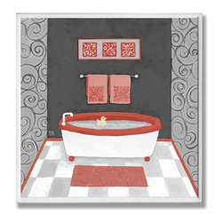 Stupell Industries - Black Red and White Bathtub Wall Plaque - Made in USA. Ready for Hanging. Hand Finished and Original Artwork. No Assembly Required. 12 in L x .5 in W x 12 in H (2 lbs.)Made in USA! Point your guests in the right direction with elegant bathroom plaques from The Stupell Home decor CollectionEach plaque comes with a sawtooth hanger for easy installation on bathroom doors or walls.