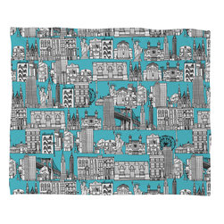 DENY Designs - Sharon Turner New York Blue Fleece Throw Blanket - This DENY fleece throw blanket may be the softest blanket ever! And we're not being overly dramatic here. In addition to being incredibly snuggly with it's plush fleece material, it's maching washable with no image fading. Plus, it comes in three different sizes: 80x60 (big enough for two), 60x50 (the fan favorite) and the 40x30. With all of these great features, we've found the perfect fleece blanket and an original gift! Full color front with white back. Custom printed in the USA for every order.