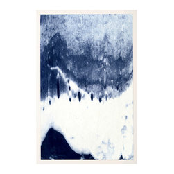 Abstracted Landscape Blue 4 - Framed Print - Screen-printed in indigo inks, the Abstracted Landscape Blue Framed Print makes a soothing choice for a bedroom wall or, with its three companions, part of a stunning display in a jewel-toned dining space. Framed in white wood and full of subtle fades that draw the eye through the composition, this magnificent artwork is produced on a large scale for higher impact.