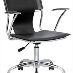 Chintaly Imports - Swivel Arm Chair Pneumatic Gas Lift - Modern pneumatic gas lift adjustable swivel computer chair. 5 Star chrome base/footrest. Chrome arms. Available in Black or White PVC.