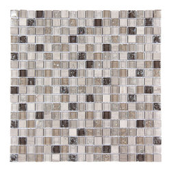 Stone & Co - Stone & CoMosaic Glass and Stone Mix 5/8 x 5/8 Glass Mosaic Tile Mag 4419 SQ - Finish: Polished / Shiny