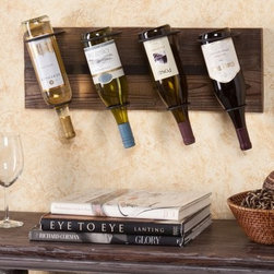 Southern Enterprises Napa Wall Mount Wine Rack - The Southern Enterprises Napa Wall Mount Wine Rack will mount vertical or horizontal. Holds 4 wine bottles. Ideal to display your favorite quad of wine. Fir wood contstruction with weathered oak finish. Includes 4 hanging hooks for simple easy installation. No assembly required. Dimensions: 24.5W x 5.5D x 8.5H inches. About SEI (Southern Enterprises Inc.)This item is manufactured by Southern Enterprises or SEI. Southern Enterprises is a wholesale furniture accessory import company based in Dallas Texas. Founded in 1976 SEI offers innovative designs exceptional customer service and fast shipping from its main Dallas location. It provides quality products ranging from dinettes to home office and more. SEI is constantly evolving processes to ensure that you receive top-quality furniture with easy-to-follow instruction sheets. SEI stands behind its products and service with utmost confidence.