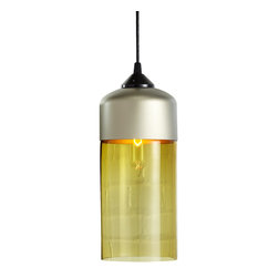 Hennepin Made - Parallel Series Cylinder Pendant Light - Bring subtle elegance to your decor when you hang this stunning pendant light from your ceiling. Its unexpected shape and ethereally glowing shade are sure to please the eye. The cylindrical light is crafted from handblown glass and spun aluminum, and includes a black canopy, 40 watt bulb and four foot cord.