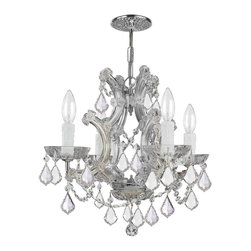 Crystorama - Crystorama 4474-CH-CL-MWP Maria Theresa Chandelier - There's undeniable magic when light meets crystal or glass. It sparks the same fire one sees when light meets precious and semi-precious stones. Great lighting often takes styling cues from jewelry as well, with its primary use of gold and silver tones. Just like an outfit isn't complete without the perfect necklace, bracelet or earrings, a room isn't complete until it has lighting that adds the WOW factor when you walk in.