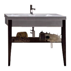 "WS Bath Collections - Bentley 3932C Bathroom Vanity Unit 47.2"" x 19.7"" - Bentley 3932C by WS Bath Collections, Bathroom Vanity Unit, Includes Ceramic Bathroom Sink with One or Three Faucet Holes, Two (2) Wooden Legs, and Glass Shelf"