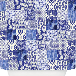DENY Designs - DENY Designs Aimee St Hill Blue Is Just A Mood Shower Curtain - Bath time starting to feel a little blah? Give your tub or shower some graphic pop with the Aimee St Hill Blue Is Just A Mood Shower Curtain from DENY Designs. Made from machine-washable polyester, this chic shower curtain looks just like a patchwork quilt. Dozens of squares in various patterns—everything from florals to paisleys to geometric prints—create a lush look in shades of blue. Hang it up to give your bathroom a splash of the cool hue and  infuse your morning routine with whimsical, eclectic style. Scrub a dub dub!Artist: Aimee St HillA portion of proceeds go directly to the artistsButtonhole openings; shower rings are not includedMade in the USA