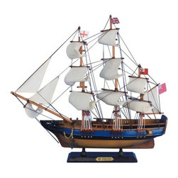 "Handcrafted Model Ships - HMS Endeavour 20"" - Wooden Tall Ship Model - Sold fully assembled ready for immediate display - Not a model ship kit. Inspired by the HMS Endeavour, this historical replica model ship will sit easily upon any desk or shelf. Add a touch of nautical history to the decor of any room with this tall model ship. 20"" Long x 4"" Wide x 18"" High."