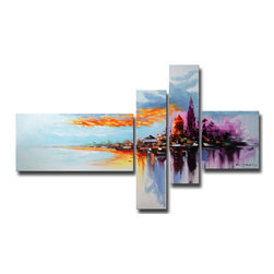 """Fabuart - """"Escape to Paradise"""" Canvas Oil Painting - 65 x 30 In - This beautiful Art is 100% hand-painted on canvas by one of our professional artists. Our experienced artists start with a blank canvas and paint each and every brushstroke by hand."""