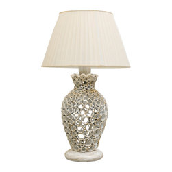 LogicSun/Montalto - Buccola - This table lamp offers lovely elements in a well-executed package. The base is a finely wrought-iron crafted, vase-shaped base is made up of iron tubes and finished in iridescent ivory and gold. An artistic accent for a living room or bedroom. Hand-Made In Italy. Hand-painted.