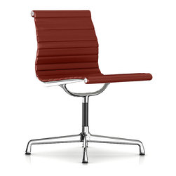 Herman Miller - Herman Miller Eames Aluminum Armless Side Chair - Leather - This armless side chair will put your guests in the hot seat with its cool, retro vibe. Originally created by the iconic design team of Charles and Ray Eames, it bears all the hallmarks of their unmistakable ethos. Clad in supple leather, it works just as well in the boardroom as it does in your home office.