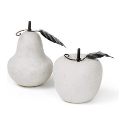 Set of Two Antique Marble Fruit - Bring a beautiful Set of Two Antique Marble Fruit to your vintage industrial chic style ! This set comprises beautifully designed pear and apple shaped fruits. You can create your own collection of marble fruits for furnishing the cover tops of your tables. Artisans from the vintage chic home has elegantly crafted the top class marble and completed them with an artificial stems and a leaf for lending a more natural look to this antique piece of French Country chic collection. It exhales a simply exquisite and fresh look to the tabletops; you can place these fruits even under sheer domes of glasses.