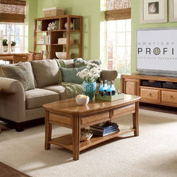 """American Drew - American Drew Antigua 3 Piece Coffee Table Set w/Entertainment Unit in Toasted A - Antigua combines popular materials, finishes, hardware and shapes and blends them with pieces for today's lifestyles. It is a collection sure to add a sophisticated coastal or tropical flare to any home. Unique options for bedroom make it easy to create the perfect setting that fits your style. - 931-595-3-SET.  Product features: Belongs to Antigua Collection by American Drew; ; 2 Doors w/Adj. Shelf Behind Each; Opening: W16"""" x D20"""" x H21; Center: 1 Adj. Shelf, 1 Drawer, Opening: W26"""" x D20"""" x H13; Wire Mgmt.; Crafted from select hardwood solids; Contains primavera veneers; Toasted Almond finish. Product includes: Cocktail Table (1); End Table (1); Entertainment Unit 64"""" (1). 3 Piece Coffee Table Set in Toasted Almond belongs to Antigua Collection by American Drew."""