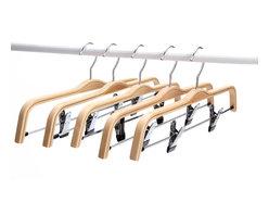 J.S. Hanger - J.S. Hanger® Light Wooden Hangers, Sturdy Wood Pants/Skirts Hangers, 5-Pack - Feature: