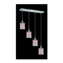 Elegant Lighting - Mini Rosaline Crystal Pendant w 4 Lights in Chrome (Royal Cut) - Choose Crystal: Royal Cut. 3 ft. Chain/Wire Included. Bulbs not included. Crystal Color: Rosaline (Pink). Chrome finish. Number of Bulbs: 4. Bulb Type: GU10. Bulb Wattage: 55. Max Wattage: 220. Voltage: 110V-125V. Assembly required. Meets UL & ULC Standards: Yes. 26 in. D x 8 to 48 in. H (12lbs.)Description of Crystal trim:Royal Cut, a combination of high quality lead free machine cut and machine polished crystals & full-lead machined-cut crystals..SPECTRA Swarovski, this breed of crystal offers maximum optical quality and radiance. Machined cut and polished, a Swarovski technician¢s strict production demands are applied to this lead free, high quality crystal.Strass Swarovski is an exercise in technical perfection, Swarovski ELEMENTS crystal meets all standards of perfection. It is original, flawless and brilliant, possessing lead oxide in excess of 39%. Made in Austria, each facet is perfectly cut and polished by machine to maintain optical purity and consistency. An invisible coating is applied at the end of the process to make the crystal easier to clean. While available in clear it can be specially ordered in a variety of colors.Not all trims are available on all models.