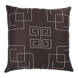 "Rizzy Home - T-2222 18"" Decorative Pillow in Brown (Set of 2) - Distinctive and elegant, these decorative accent pillows are versatile enough to be used in any room of the home. Rich hues and textural accents will allow you to add your signature touch and create your own style. Features: -Color: Brown. -Material: Poly dupion. -100% Siliconized polyester fiber filler. -Zippered pillow cover with poly fill insert. -Dry clean only."
