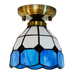 ParrotUncle - Blue White Stained Glass Tiffany Style Flush Mount - These Tiffany Style Ceiling Lamp are made with the traditional Tiffany copper foil method and we carefully select only those from the top companies such as Meyda Tiffany and Paul Sahlin Tiffany's. These handcrafted glass lamps are each an individual work of art making them unique in their own way. Browse our selection full of traditional patterns as well as modern designs and get the timeless elegance of a stained glass lamp for your home.