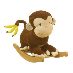 Fifthroom - Plush Bananas Monkey Rocker - Your child will go bananas for this plush monkey rocker.  On the monkey's head they will find 4 different shapes that will let them play and learn.  Each shape plays ABC's, 123's, colors, shapes, and many more. Let them go wild and enjoy this amazing toy.