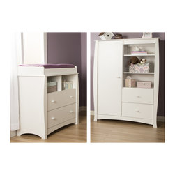 None - Beehive Pure White Changing Table with Removable Changing Station and Armoire wi - Straight out of a child's story book world,this 2-piece set featuring rounded shapes gives you the original style you want for your baby's room. Multiple storage spaces give you a practical,safe way to see to take care of your little treasure.
