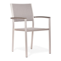 Zuo Modern - Metropolitan Armchair - With sturdy arms and an attractive mesh seat and back, the Metropolitan armchair will have them gawking for more. Stackable for ease of storage. The frame is aluminum with a textile seat and back.