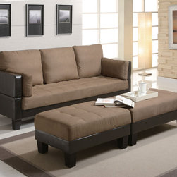Coaster - Tan Transitional Sofa Bed - This sofa offers comfortable seating as well as the ability to convert the sofa into a bed. With the included ottomans you can easily add a sleeping solution to your living room when guest stay over. Wrapped in tan micro fiber and brown vinyl base.