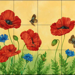 The Tile Mural Store (USA) - Tile Mural - Poppies And Cornflowers - Kitchen Backsplash Ideas - This beautiful artwork by Jane Maday has been digitally reproduced for tiles and depicts several butterflies amongst colorful flowers.  Butterfly images on tiles are wonderful to add to your kitchen backsplash wall tile project. Bright and beautiful decorative tiles with pictures of butterflies make a great addition to your kitchen backsplash wall tile project. Bring the outdoors in with a butterfly tile mural. You can use a tile mural of butterflies in the bathroom too for your shower tile project. Consider a butterfly tile mural for any wall tile project.