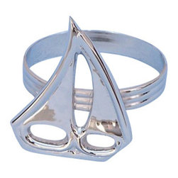 """Handcrafted Nautical Decor - Chrome Sailboat Napkin Ring 2"""" - Chrome Sailing Boat Decoration - This Chrome Sailboat Napkin Ring 2"""" is the perfect addition for those with a nautical theme kitchen. Strong, sturdy, and durable buy a set of these napkin rings to accommodate all of your guests. The chrome finish on this sailboat will infuse your dining area with a nautical appearance. Dimensions: 2"""" Long x 2"""" Wide x 2"""" High"""