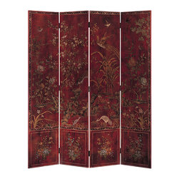 "Inviting Home - Red Oriental Folding Screen - Oriental folding screen hand-painted with birds and flowers on antiqued red background overall - 72""W x 84""H each panel - 18""W This full of character four-panel oriental screen is crafted from wood and has a stunning design hand-painted by an artist on an antiqued crackled red background. The back of this folding screen s hand finished in antiqued crackled red. Composition of this oriental screen has a unique structure. Embraced by dynamic decorative border with flower motif two thirds of the oriental screen is dedicated to one large composition that continues from one panel to the next. The main scene of the screen features different kinds of birds in a nature setting. The bottom part of the screen is divided in four separate and unique compositions; each panel features a beautiful flower arrangement that is realistically hand painted. Among other birds you can see a couple of herons painted on the foreground of the two central panels. The heron is considered a symbol of longevity and from China comes the practice of regarding this bird as a mount of the gods. When paired in decorative composition with water flowers in China the herons traditionally convey a wish for success in the bureaucratic examination that provided a major means of professional advancement. Traditional peony tree with its luscious flowers plum tree with tender blooms narcissus and water flowers are masterfully painted on this oriental folding screen. Narcissus blooms in late winter and in oriental culture is a symbol of the New Year. Overall tasteful and sophisticated composition creates a powerful and vivid design. This hand-painted oriental screen can truly be considered a mobile piece of art."