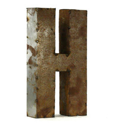 "Kathy Kuo Home - Industrial Rustic Metal Small Letter H 18""H - Create a verbal statement!  Made from salvaged metal and distressed by hand for an imperfect, time-worn look."