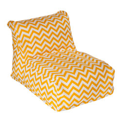 HRH Designs - Indoor/Outdoor Beanbag Lounger, Yellow Chevron - Indoor/outdoor beanbag lounger. Removable washable cover. Water resistant. Chair can be refilled when needed.
