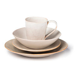 BY MERCATO - Fresco Dinnerware Set - Orange, Gesso White - The gesso white Italian dinnerware set in our Fresco collection combines beauty with simplicity. Drawing inspiration from the frescoed walls of Italian palazzos and churches, this collection evokes the colors and textures of paint on plaster. Each piece is unique and handmade by Italian artisans. There are nine additional colors in the Fresco collection which can be mixed or matched.
