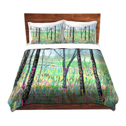 DiaNoche Designs - Duvet Cover Microfiber by Aja-Ann - Love Notes - Super lightweight and extremely soft Premium Microfiber Duvet Cover in sizes Twin, Queen, King.  This duvet is designed to wash upon arrival for maximum softness.   Each duvet starts by looming the fabric and cutting to the size ordered.  The Image is printed and your Duvet Cover is meticulously sewn together with ties in each corner and a hidden zip closure.  All in the USA!!  Poly top with a Cotton Poly underside.  Dye Sublimation printing permanently adheres the ink to the material for long life and durability. Printed top, cream colored bottom, Machine Washable, Product may vary slightly from image.