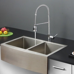 Ruvati - Ruvati RVC2446 Stainless Steel Kitchen Sink and Chrome Faucet Set - Ruvati sink and faucet combos are designed with you in mind. We have packaged one of our premium 16 gauge stainless steel sinks with one of our luxury faucets to give you the perfect combination of form and function.