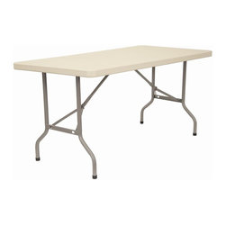KFI Seating - 60 in. Rectangular Blow-Molded Folding Table - Lightweight blow-molded folding table. 1.75 in. Thick granite table top. 17 Gauge - 1 in. Grey powder-coated steel legs. Easy to move and store. Assembles in seconds. 60 in. L x 30 in. W x 29 in. H