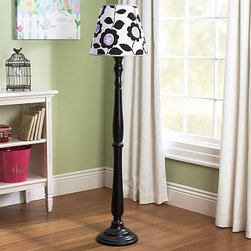 Fresh Floral Floor Shade & Payton Floor Base - Add a bit of spunk and funk to your girl's room with this floor lamp and base. The dark sleek base offers a sturdy foundation and strong dark balance to the energetic black and purple floral shade.