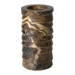 Lazy Susan - Marbled Terraced Wood Pillar Holder, Small - -Use Pillar Candle