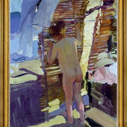 """Joaquin Sorolla Y Bastida-16""""x20"""" Framed Canvas - 16"""" x 20"""" Joaquin Sorolla Y Bastida Inquisitive Child framed premium canvas print reproduced to meet museum quality standards. Our museum quality canvas prints are produced using high-precision print technology for a more accurate reproduction printed on high quality canvas with fade-resistant, archival inks. Our progressive business model allows us to offer works of art to you at the best wholesale pricing, significantly less than art gallery prices, affordable to all. This artwork is hand stretched onto wooden stretcher bars, then mounted into our 3"""" wide gold finish frame with black panel by one of our expert framers. Our framed canvas print comes with hardware, ready to hang on your wall.  We present a comprehensive collection of exceptional canvas art reproductions by Joaquin Sorolla Y Bastida."""