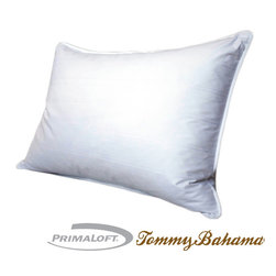 Tommy Bahama - Tommy Bahama 425 Thread Count PrimaLoft Down Alternative Pillow - Perfect for side sleepers, this medium/firm PrimaLoft pillow will cradle your head and neck every night. The removable cover makes washing a cinch, and the damask stripe adds an elegant look. The PrimaLoft filling resists water, so it dries faster.