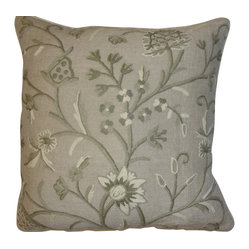 Crewel Pillow Tree of Life Neutrals on Brown Linen 17x17