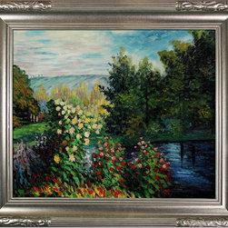 None - Claude Monet 'Corner of the Garden at Montgeron' Hand Painted Framed Canvas Art - Artist: Claude MonetTitle: Corner of the Garden at MontgeronProduct type: Hand-Painted Art
