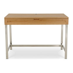 """Jesper - Jesper - Highland Collection - Solid Wood 44"""" Desk W/ Steel Base - Cherry - Handmade in the USA of solid North American Cherry or Black Walnut from FSC-certified local forests, this hand-crafted product is finished with a pure hand-rubbed oil finish. Simply choose your size, finish and a wood or steel base to create the look that is right for you."""