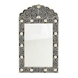 JAIPUR MIRROR - BLACK - Beautifully handmade, this mirror contains over 1,000 meticulously cut pieces of bone in a shape and floral pattern that are both ancient Mughal designs. It's the same process master craftsmen have been doing for centuries. The painted frame is first handcarved then inlaid with hand-cut bone pieces to create the feeling of an exotic garden. Expect a slight variation in the inlay design as a signature of the artist who created the piece.