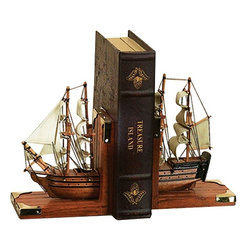 Benzara - Nautical Coastal Book Ends As Wood Trade Ship - This ocean adventure themed book end set is made with great detail in the natural wood hull and the sails of the trade ship. An adventure on the in. H seas awaits anyone who places their volumes here. Use them perfectly on your favorite bookshelf or on the fireplace mantle.