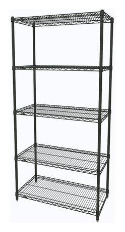 InterMetro Industries - Metro Shelving Unit - 36x14x74 Black - As the original wire storage shelving system and still the industry leader, Metro shelving continues to evolve and aims to meet the diversity of todays storage challenges. These professional grade units hold more weight. The five (5) shelves can be positioned, or re-positioned, at precise 1 increments along the length of the posts.  Open wire design minimizes dust accumulation and allows for free circulation of air and greater visibility of stored items. Casters (sold separately) available for mobile applications. This post-based shelving system, created in 1965, is recognized worldwide as the most popular commercial shelving system ever.  Assembly required
