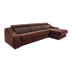 ESF Furniture - ESF Ronaldo Reversible Sectional Sofa W/Sleeper - Ronaldo Fabric Sleeper Sectional in Modern Style