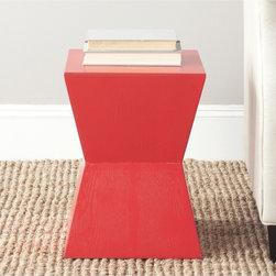 Safavieh - Lotem Hot Red Accent Table - Make a graphic statement with the Lotem accent table, its strong solid structure softened with a hot red finish on ash veneer wood.